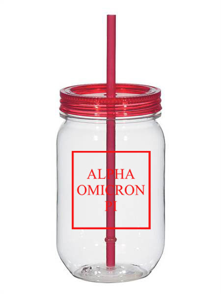 Alpha Omicron Pi Box Stacked 25oz Mason Jar