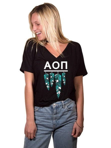 Alpha Omicron Pi Tribal Feathers Slouchy V-neck Tee