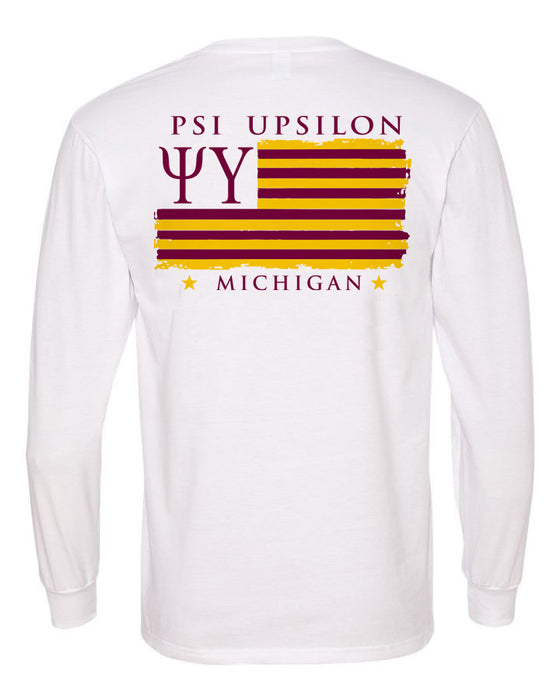 Psi Upsilon Long Sleeve Flag Tee