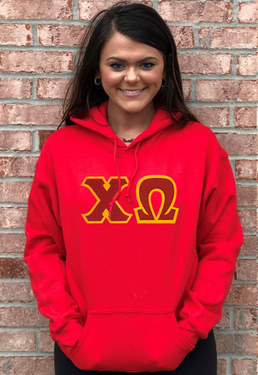 Chi Omega Lettered Hoodie