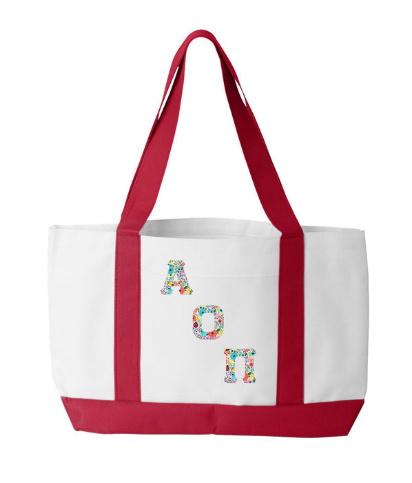 Alpha Omicron Pi 2-Tone Boat Tote with Sewn-On Letters
