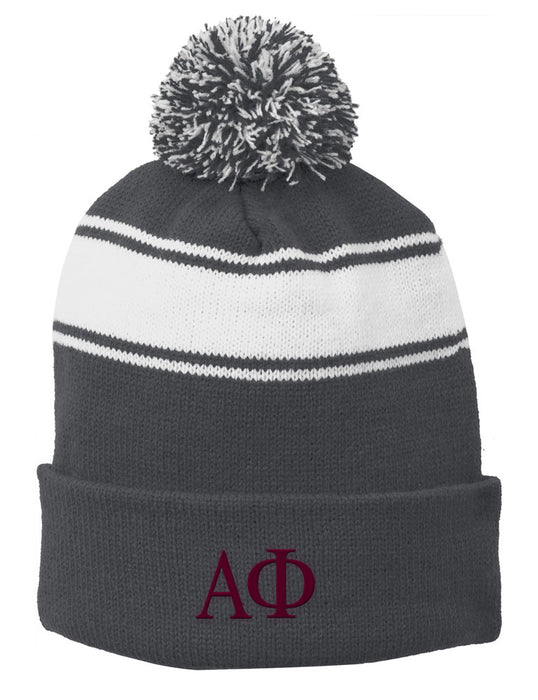 Alpha Phi Embroidered Pom Pom Beanie