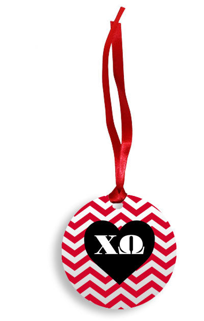 Chi Omega Red Chevron Heart Sunburst Ornament