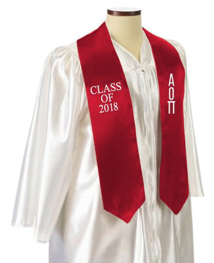 Alpha Omicron Pi Classic Colors Embroidered Grad Stole