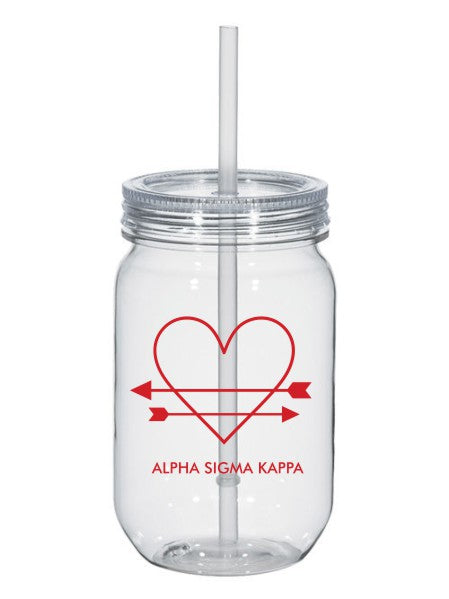 Alpha Sigma Kappa Heart Arrows Name 25oz Mason Jar