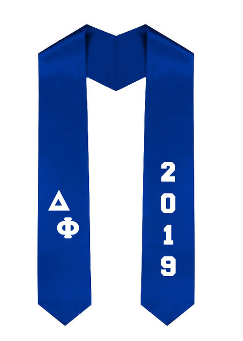 Delta Phi Slanted Grad Stole with Letters & Year