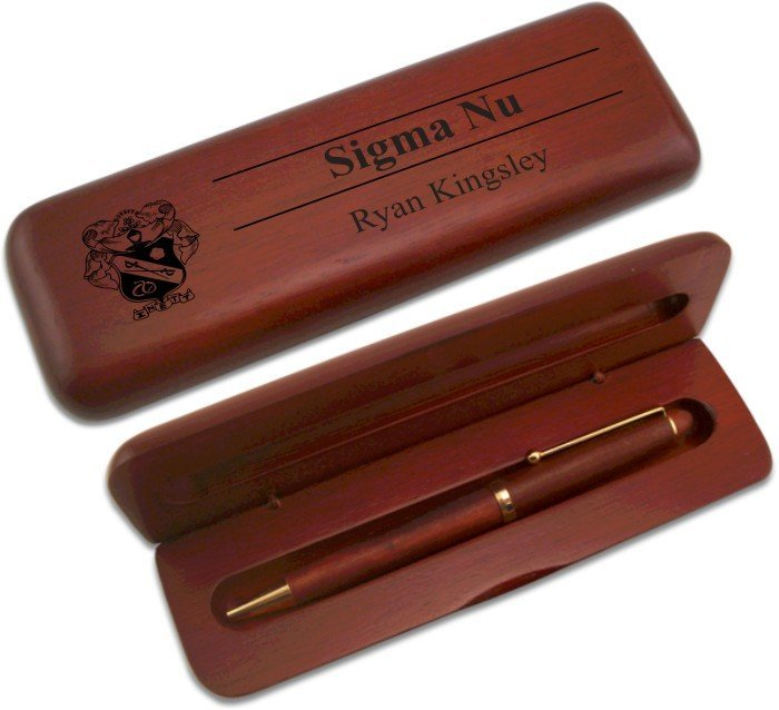 Sigma Nu Wooden Pen Case & Pen