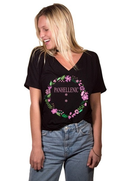 Panhellenic Floral Wreath Slouchy V-Neck Tee
