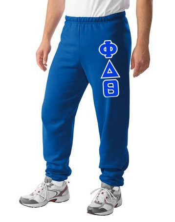Phi Delta Theta Sweatpants with Sewn-On Letters