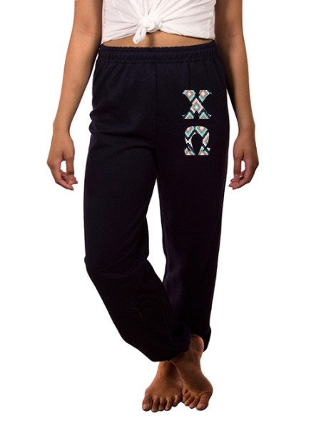Chi Omega Sweatpants with Sewn-On Letters
