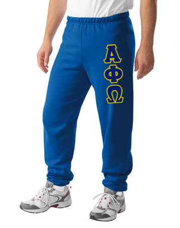 Alpha Phi Omega Sweatpants with Sewn-On Letters