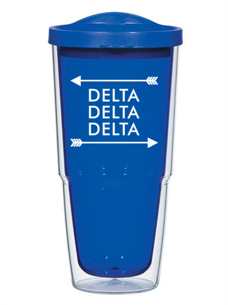 Delta Delta Delta Arrow Top Bottom 24oz Tumbler with Lid