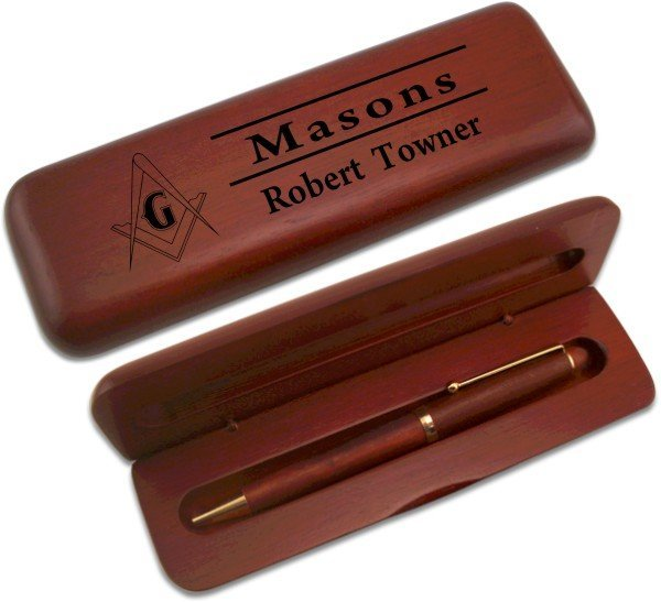 Masonic Wooden Pen Case & Pen