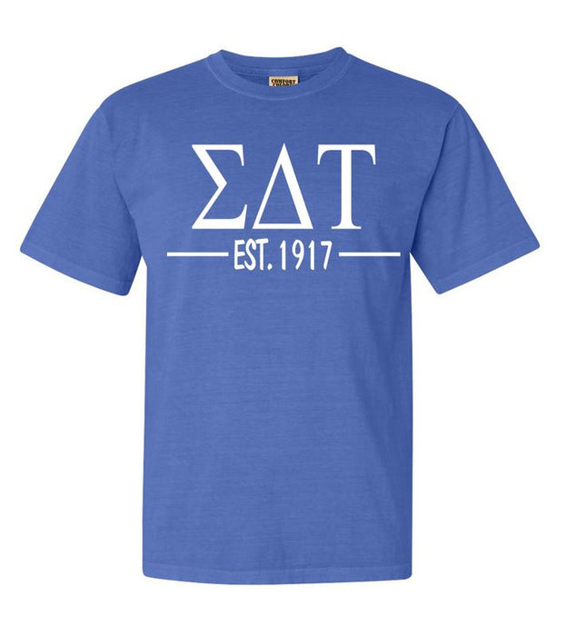 Sigma Delta Tau Comfort Colors Established Sorority T-Shirt