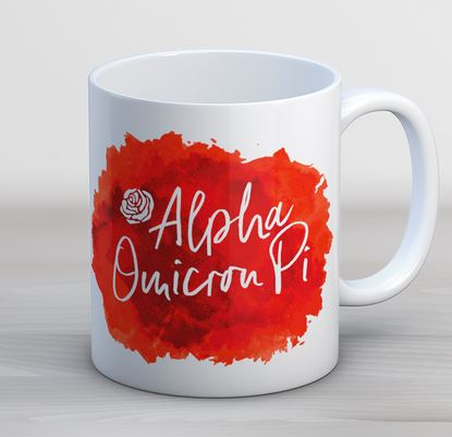 Alpha Omicron Pi Watercolor Script Coffee Mug
