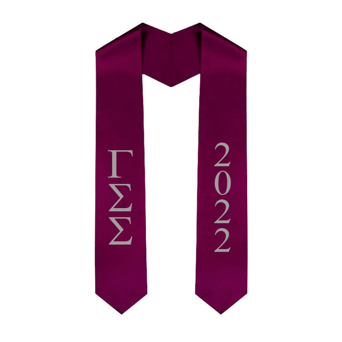 Gamma Sigma Sigma Vertical Grad Stole with Letters & Year