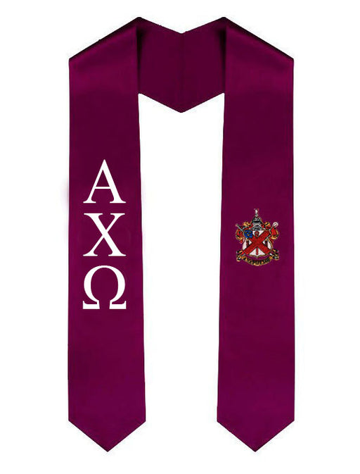 Alpha Chi Rho Lettered Graduation Sash Stole with Crest