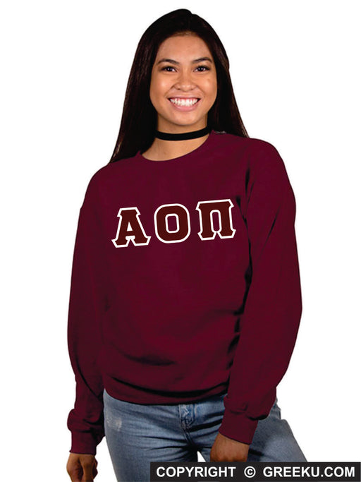 Alpha Omicron Pi Classic Colors Sewn-On Letter Crewneck