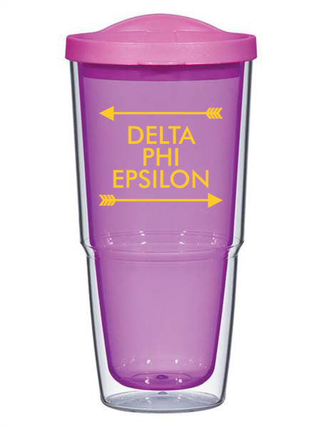 Delta Phi Epsion Arrow Top Bottom 24oz Tumbler with Lid