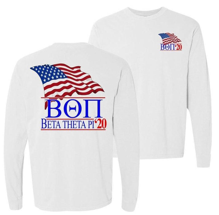 Beta Theta Pi Patriot Flag Comfort Colors Long Tee