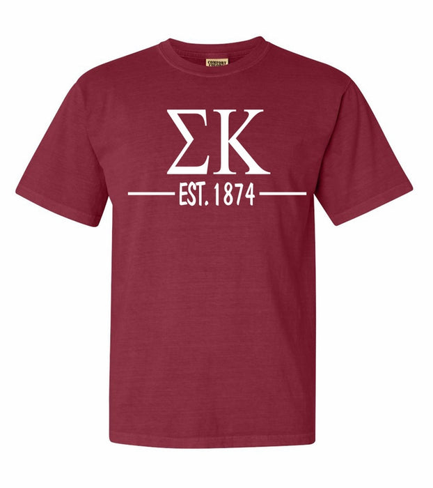 Sigma Kappa Comfort Colors Established Sorority T-Shirt
