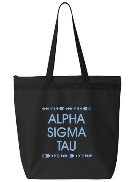 Alpha Sigma Tau Arrow Top Bottom Tote Bag