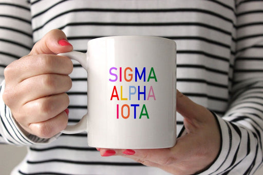 Sigma Alpha Iota Coffee Mug with Rainbows
