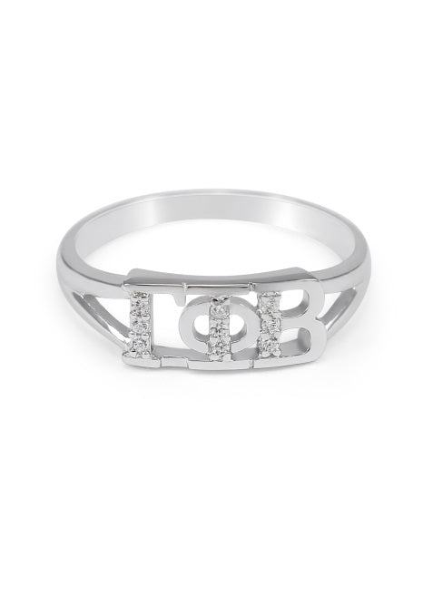 Gamma Phi Beta Sterling Silver Ring with Lab Created Clear Diamond