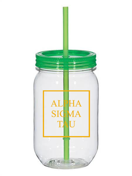 Alpha Sigma Tau Box Stacked 25oz Mason Jar