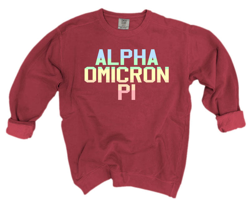 Alpha Omicron Pi Comfort Colors Pastel Sorority Sweatshirt