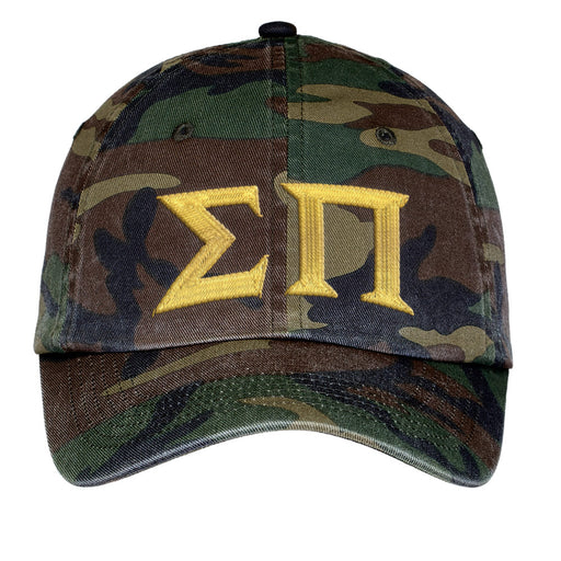 Sigma Pi Letters Embroidered Camouflage Hat