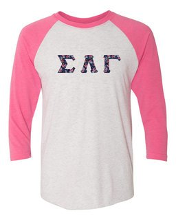 Sigma Lambda Gamma Long Sleeve Baseball Shirt with Sewn-On Letters