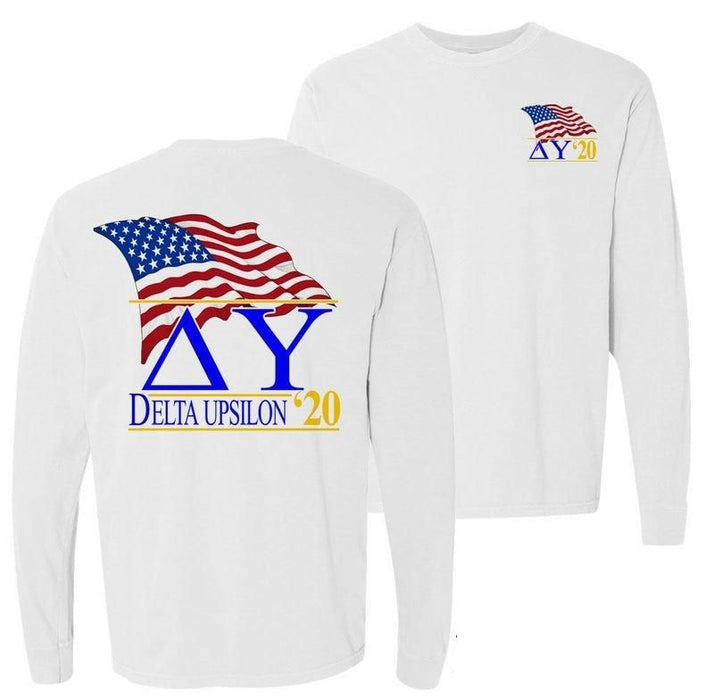 Delta Upsilon Patriot Flag Comfort Colors Long Tee