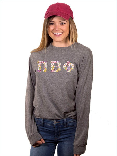 Pi Beta Phi Long Sleeve T-shirt with Sewn-On Letters
