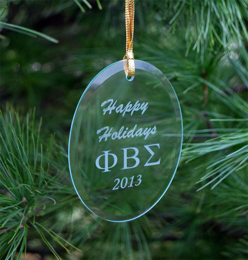 Phi Beta Sigma Engraved Glass Ornament