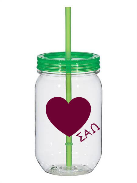 Sigma Alpha Omega 25oz Scribbled Heart Mason Jar