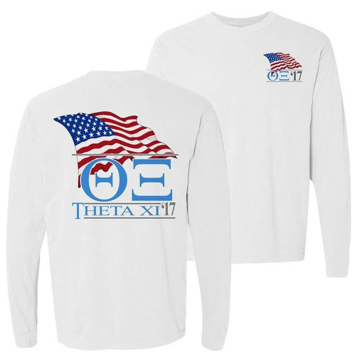 Theta Xi Patriot Flag Comfort Colors Long Tee