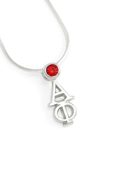 Alpha Phi Sterling Silver Lavaliere Pendant with Swarovski Crystal