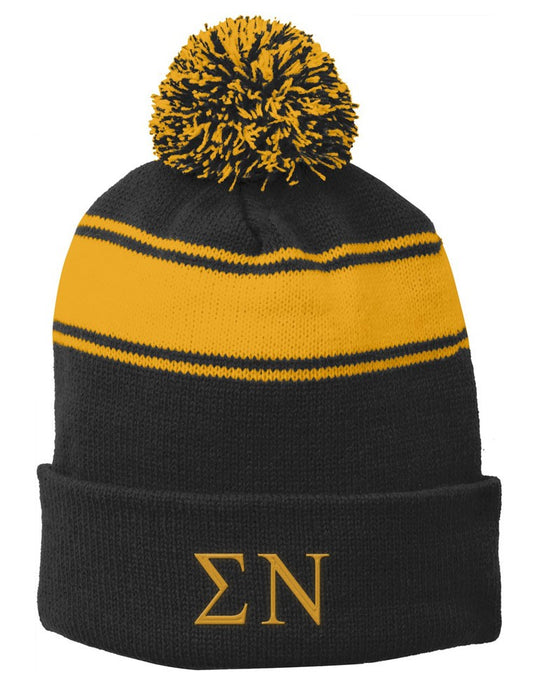 Sigma Nu Embroidered Pom Pom Beanie
