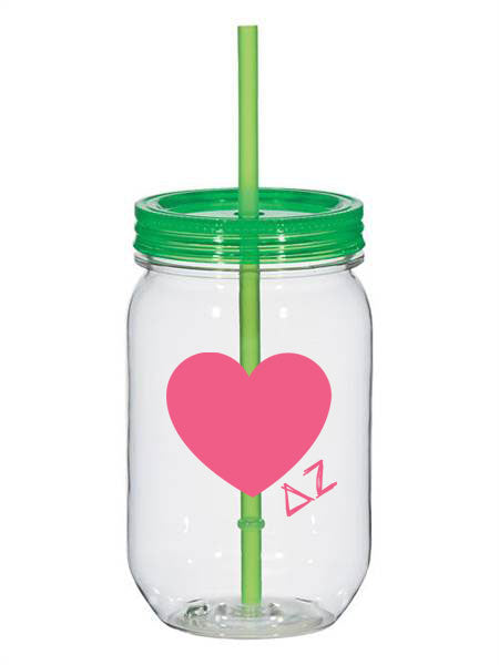 Delta Zeta 25oz Scribbled Heart Mason Jar