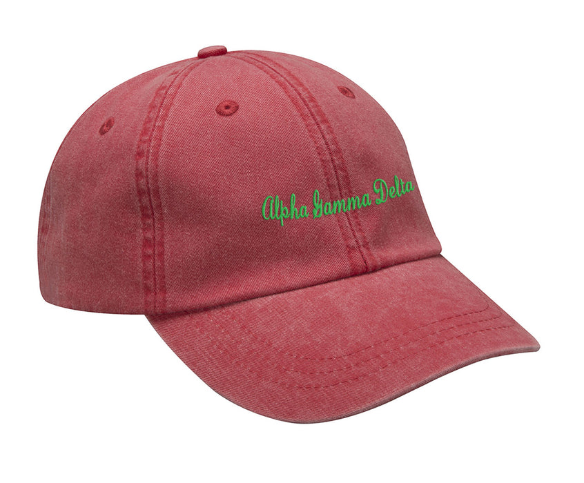 Alpha Gamma Delta Cursive Embroidered Hat