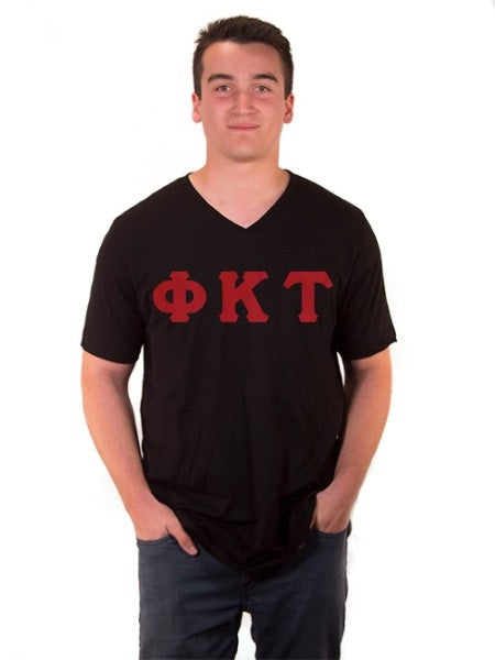 Phi Kappa Tau V-Neck T-Shirt with Sewn-On Letters