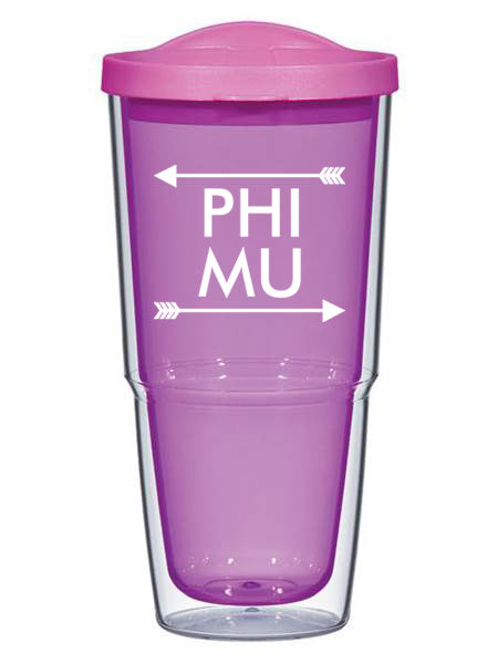Phi Mu Arrow Top Bottom 24oz Tumbler with Lid