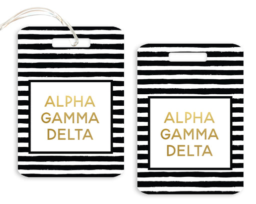 Alpha Gamma Delta Gold Striped Luggage Tag