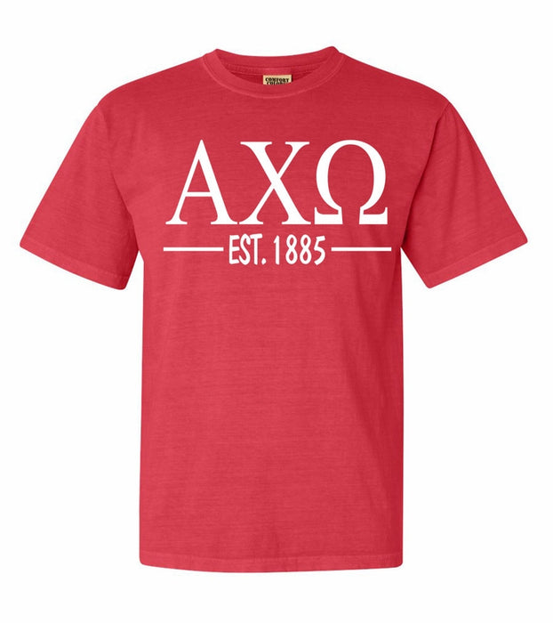 Alpha Chi Omega Comfort Colors Established Sorority T-Shirt