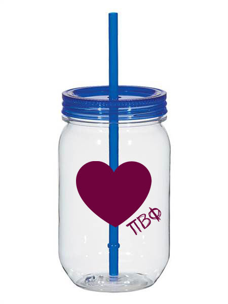 Pi Beta Phi 25oz Scribbled Heart Mason Jar