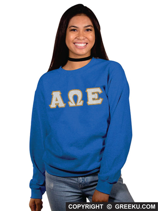 Alpha Omega Epsilon Classic Colors Sewn-On Letter Crewneck