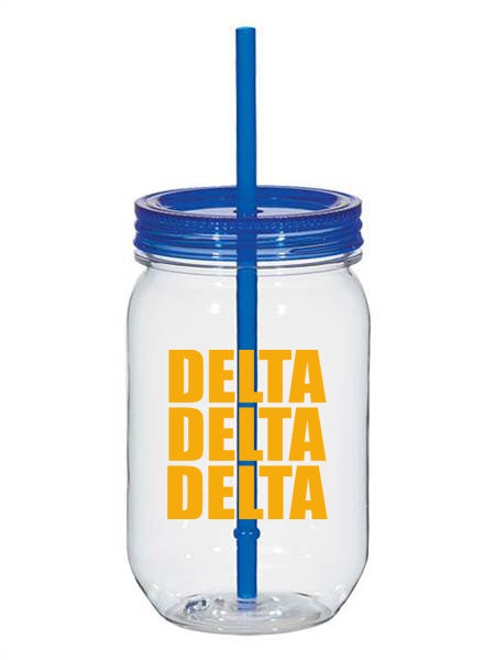 Delta Delta Delta Big Stacked Greek 25oz Mason Jar
