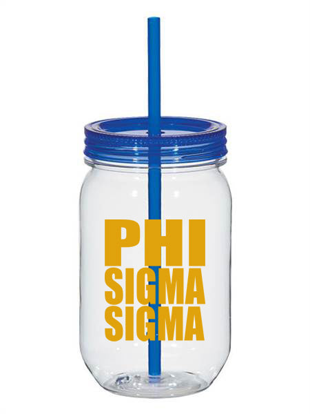 Phi Sigma Sigma Big Stacked Greek 25oz Mason Jar