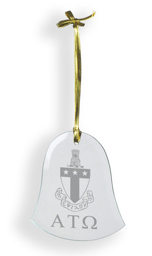 Alpha Tau Omega Glass Bell Ornament